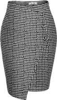 ANGVNS Women High Waist Pencil Skirt Plaid Package Hip Asymmetric Hem OL Skirt