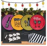 BuySeasons 32ct Wine Time Appetizer Pack with Chalkboard Runner Cheese Board & Décor