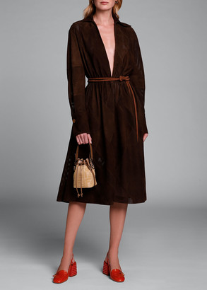 Fendi Long-Sleeve V-neck Perforated Suede Dress