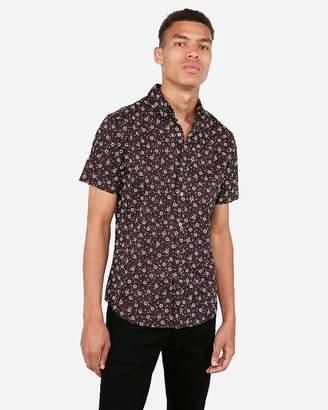 Express Slim Floral Print Short Sleeve Dress Shirt
