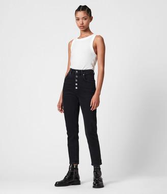 AllSaints Jules High-Rise Slim Jeans, Washed Black