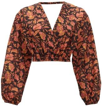 Matteau - Open-back Floral-print Cropped Cotton Blouse - Womens - Pink Print
