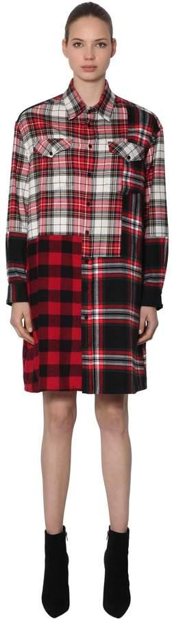 McQ Patchwork Cotton Plaid Shirt Dress