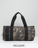 Reclaimed Vintage Inspired Camo Barrel Bag
