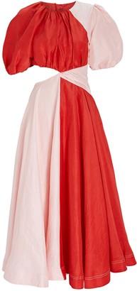Aje Entwined Puff Sleeve Midi Dress