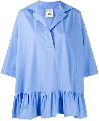 Semi-Couture Ruffled Hem Shirt