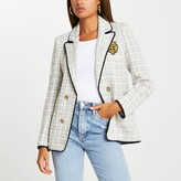 Thumbnail for your product : River Island Womens Cream boucle shoulder pad blazer