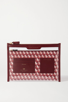 Anya Hindmarch Safety Deposit Leather-trimmed Printed Coated-canvas And Pvc Pouch - Burgundy