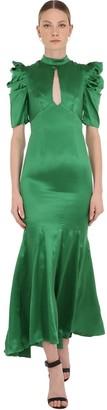 De La Vali Long Draped Silk Satin Dress