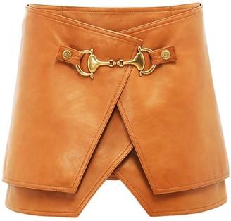 Balmain Layered Wrap Leather Mini Skirt