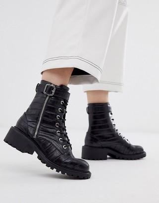 ASOS DESIGN Anya hardware lace up ankle boots in black croc