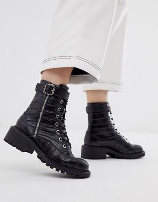 Asos Design DESIGN Anya hardware lace up ankle boots in black croc