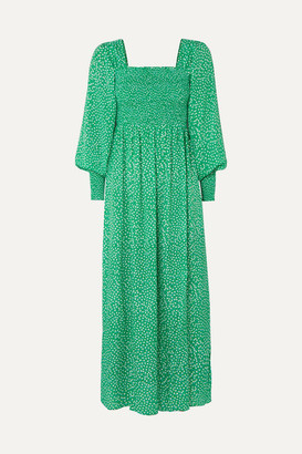 Rixo Marianne Shirred Floral-print Crepe De Chine Midi Dress - Green