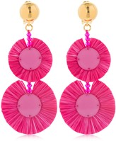 Oscar de la Renta Raffia Disk Drop Earrings