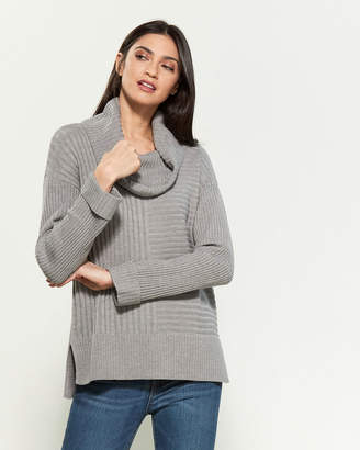 Calvin Klein Cowl Neck Rib Knit Long Sleeve Sweater