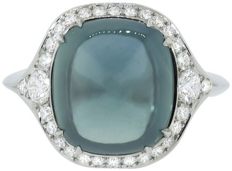 Bayco Platinum Sugarloaf Cabochon Green Sapphire And Diamond Ring