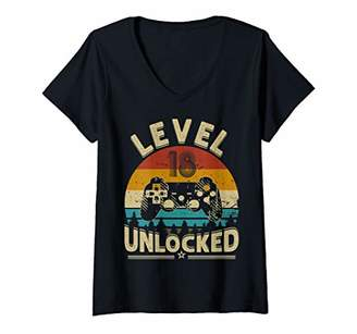 Womens Level 18 Unlocked Gamer Office Teenager 18th birthday party V-Neck T-Shirt