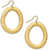 Lauren Ralph Lauren Earrings, Large Hammered Metal Oval Drop Earrings