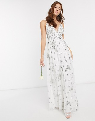 Maya Bridal plunge front all over embellished full prom maxi dress in white