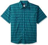 Wrangler Men's Big and Tall Wrinkle Resist Short Sleeve Snap Front Shirt