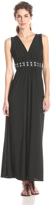 Star Vixen Women's Sleeveless Surplice Jeweled Waist Maxi Dress