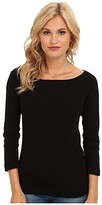 Three Dots 100% Cotton Heritage Knit 3/4 Sleeve British Tee (Black) Women's Long Sleeve Pullover