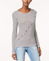 Maison Jules Striped Ruffle-Trim Thermal Top, Created for Macy's