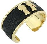 "Boy Meets Girl x Roman Luxe Gold Tone Black Leather Cuff Bracelet, 2.75"""