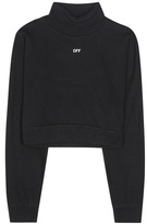 Off-White Cotton Jersey Turtleneck Sweatshirt