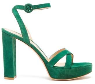 Gianvito Rossi Poppy 85 Suede Platform Sandals - Womens - Dark Green