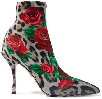 Dolce & Gabbana Lori Printed Stretch-knit Sock Boots