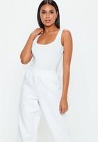 Missguided White Square Neck Cotton Jersey Bodysuit