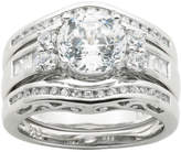 JCPenney FINE JEWELRY 100 Facets by DiamonArt Cubic Zirconia Sterling Silver 3-Ring Bridal Ring Set