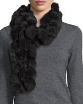 Adrienne Landau Rabbit Fur Pompom Scarf, Charcoal