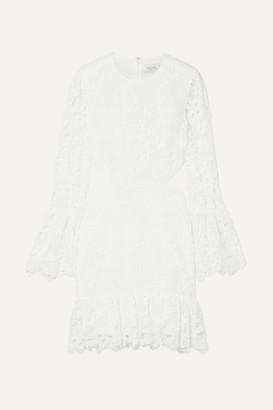 Rachel Zoe Isabel Cutout Ruffled Lace Mini Dress - White