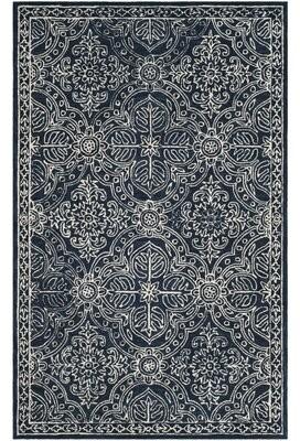 """Lauren Ralph Lauren Etienne Hand-Tufted Wool Navy/Ivory Area Rug Rug Size: Runner 2'3"""" x 7'"""