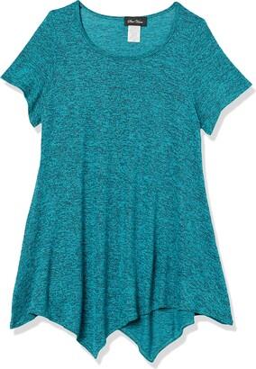 Star Vixen Women's Petite Short SLV Flattering Hanky Hem Sweater Knit Top