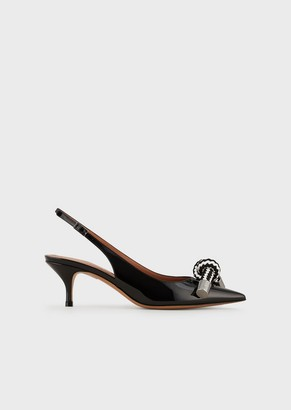 Emporio Armani Patent Leather Slingback Court Shoes With Bow