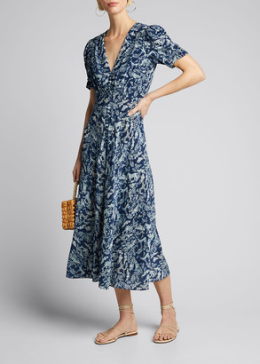 Saloni Lea Floral Button-Front Midi Dress