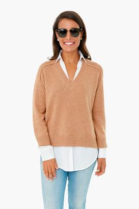 Brochu Walker Camel V-Neck Layered Pullover