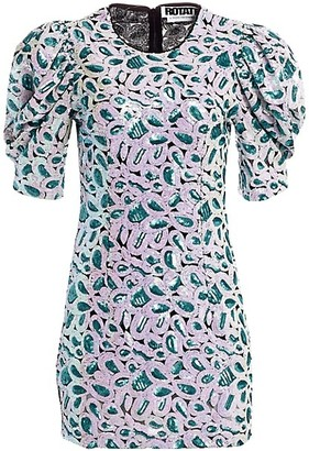 Rotate by Birger Christensen Christina Short Puff-Sleeve Floral Sequin Mini Sheath Dress