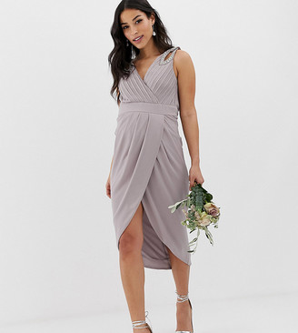 TFNC Maternity bridesmaid exclusive wrap midi dress with embellished shoulder in grey