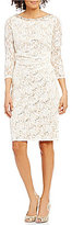 Jessica Howard Beaded Neck 3/4 Sleeve Lace Sheath Dress