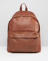 Eastpak Padded Pak'r Leather Backpack In Brown