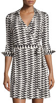 Julie Brown Milo Cheers-Print Wrap Dress, Black Cheers