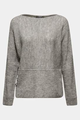 Esprit Womens Grey Boat Neck Sweater With Button Details - Grey
