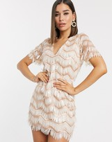 Asos Design DESIGN mini shift dress in feather fringe embellishment in pink and white