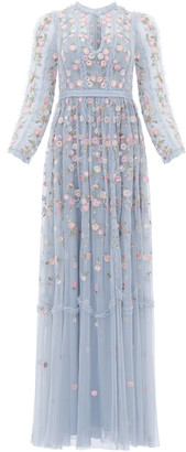 Needle & Thread Wallflower Embroidered Tulle Maxi Dress