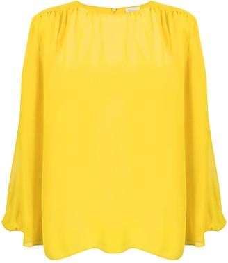 Giambattista Valli Silk Long Sleeved Sheer Blouse