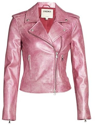 L'Agence Biker Metallic Leather Moto Jacket
